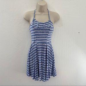 Blue & white striped twirl dress!